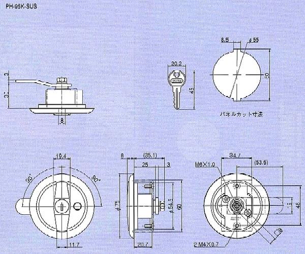 ステンレス丸型平面ハンドル PH-95K(95)-SUS